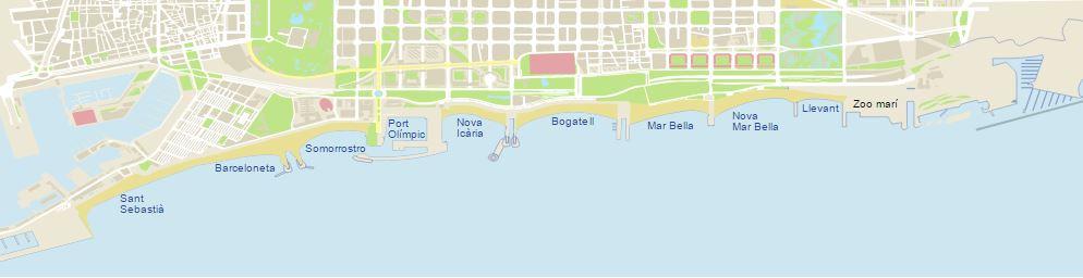 mapa playas de Barcelona
